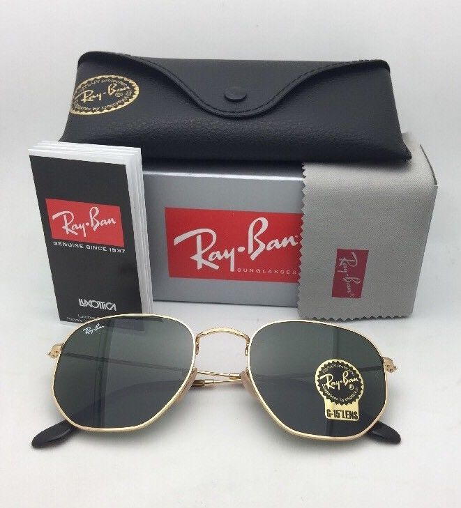 New RAN-BAN Sunglasses HEXAGONAL RB 3548-N 001 48-21 140 Gold Frame w/ G15 Green image 10