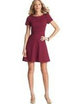 Ann Taylor LOFT Purple Puff Sleeve Flare Skirt Dress in Ponte Knit Size 0 - $37.62