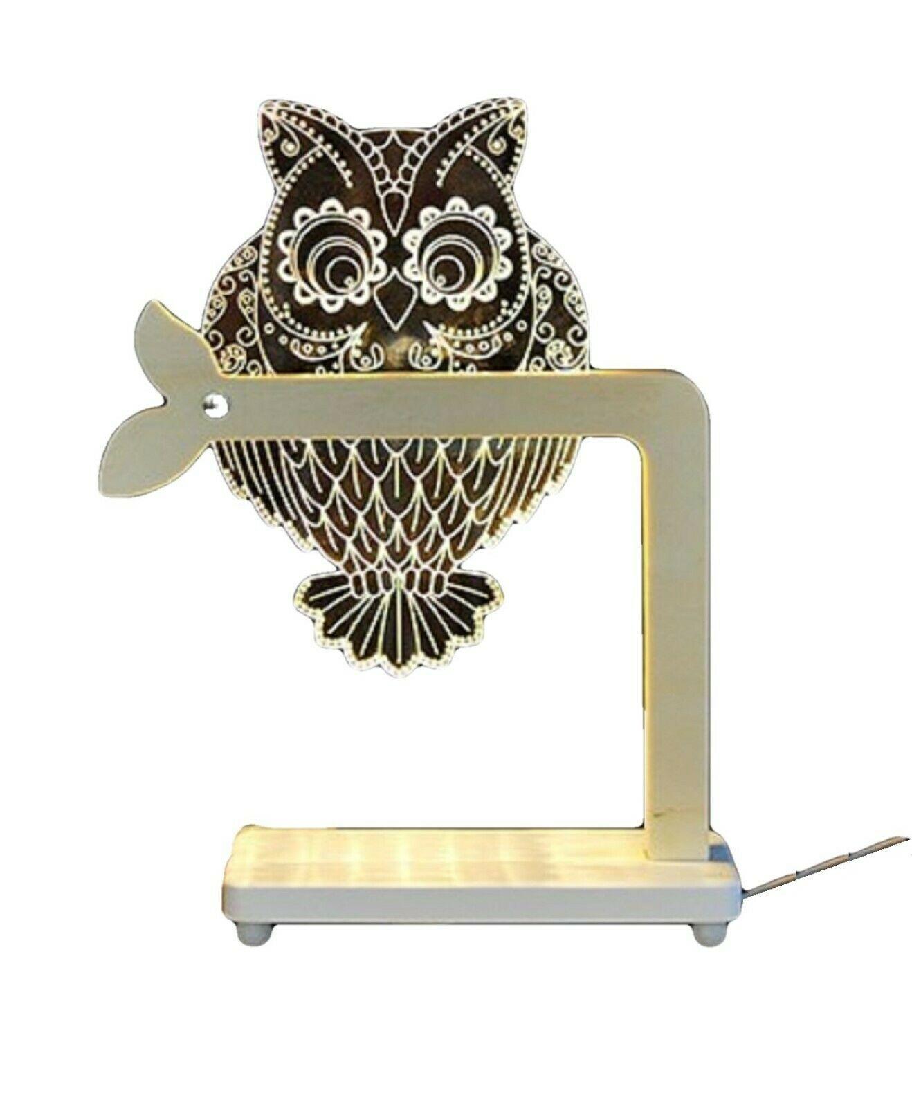 Mooas USB Wired Acryl LED Owl Night Mood Lights Lighting Lamp Indoor Interior