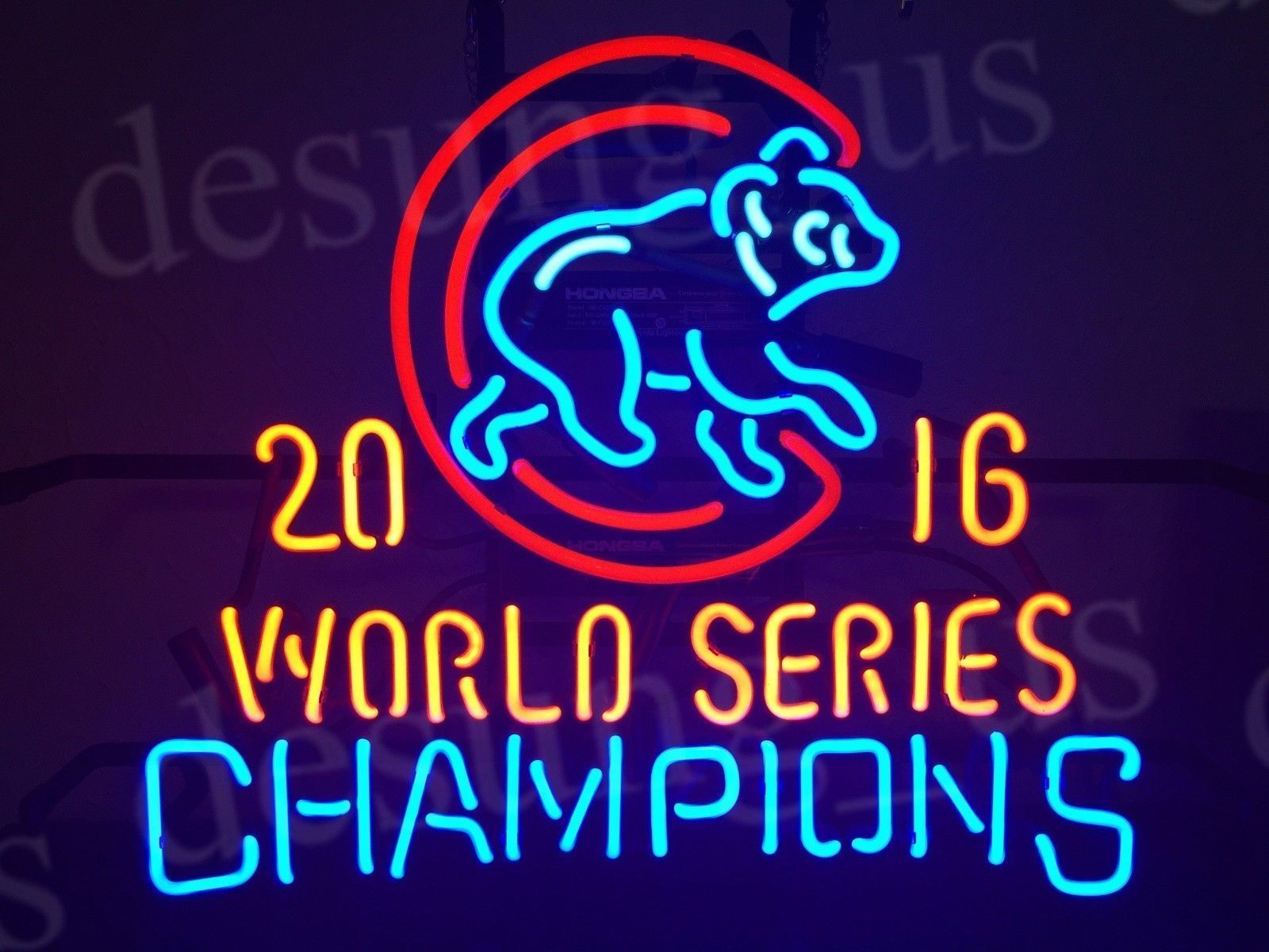"""New Chicago Cubs 2016 World Series Champions Logo MLB BEER Neon Sign 24""""x20"""""""