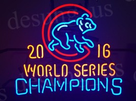 """New Chicago Cubs 2016 World Series Champions Logo MLB BEER Neon Sign 24""""x20"""" - $208.00"""