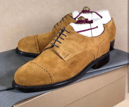 Handmade Men's Brown Two Tone Dress/Formal Oxford Suede Shoes image 4