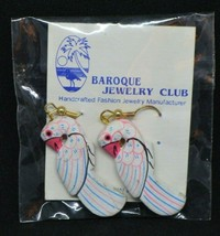 Baroque Jewelry Club White Pink Blue Painted Bird Dangle Earrings - $19.79