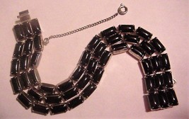 WEISS 3-strand Vintage Black Cabochon Bracelet w/Safety Chain - $59.95