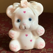 Vintage 1980s Ceramic Teddy Bear Bank White Pink Hearts Bow Made in Taiwan - $14.84