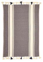 Striped Bath mat rug Anthracite-Grey made with 100 % cotton Oeko-text  - $20.00