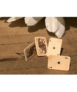 Recycled Paper Jewelry, Mini Playing Cards Post Earrings A Spades Q Hearts - $11.88