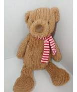 Plush Manhattan Toys Plush brown ribbed teddy bear Red white striped sca... - $29.69