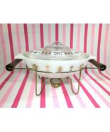 Mid Century Glasbake 22ct Gold Milkglass Casserole Dish + Pedestal Warmi... - $28.00