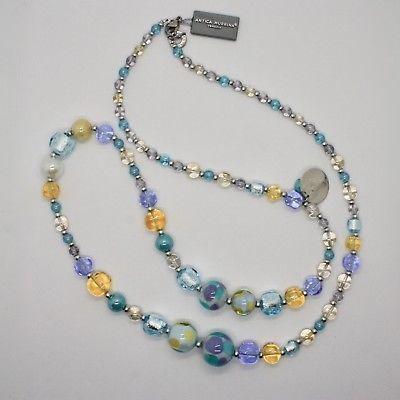 NECKLACE ANTIQUE MURRINA VENICE WITH MURANO GLASS BLUE PURPLE YELLOW COA82A07