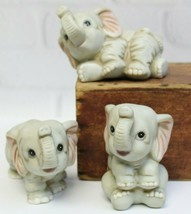 3 Vintage Homco 1400 Gray Baby Elephant Good Luck Trunks Up Figurines Porcelain - $19.99