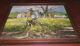 Gorgeous Vintage Print Spring Rains M.H. Milton Wood Frame Glass Country... - $34.65