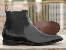 Handmade Men's Black Leather High Ankle Chelsea Boots image 3