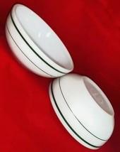 2 Vtg Fire King  Anchor Hocking Cereal Soup Bowl White w Green Stripe 35... - $12.69
