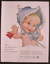 1961 Bell Telephone System Baby Girl in Blue Bonnet on color Phone Print Ad - $12.82