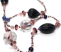 Necklace Antique Murrina, CO670A05, Drops Spheres Ovals Righettati, Viola, 90 CM image 3