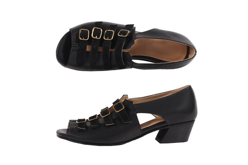 Primary image for Premium Black Color Tetra Straps On Vamp Cuban Heel Genuine Leather Women Shoes
