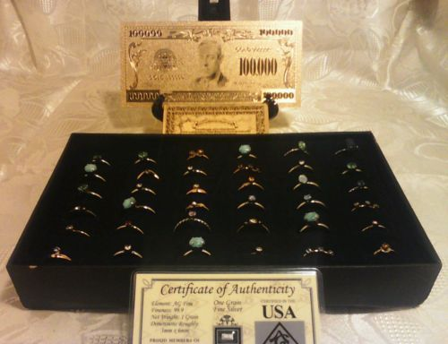 Primary image for <US SELLER>25Pc.MIXED Size & Style RINGS+MINT GOLD$100K Banknote W/COA~QUI