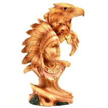 Faux Wood Western Native American Indian with Eagle Bust Resin Figurine image 5