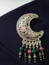 Vintage Goldtone Pin Brooch Filigree Cresent Multi Color W/ Dangling Multi Beads - $45.00