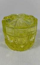 Vintage Signed Val St. Lambert Yellow Uranium Vaseline Glass Covered Van... - $209.99