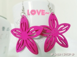 Buy  3  Free 1 : the flower in happy day,  pink wood earring,dangle earring - $5.95