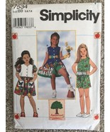 SIMPLICITY # 7534 Size 5-8 Girl's Dress Top and Shorts Sewing Pattern Un... - $7.18