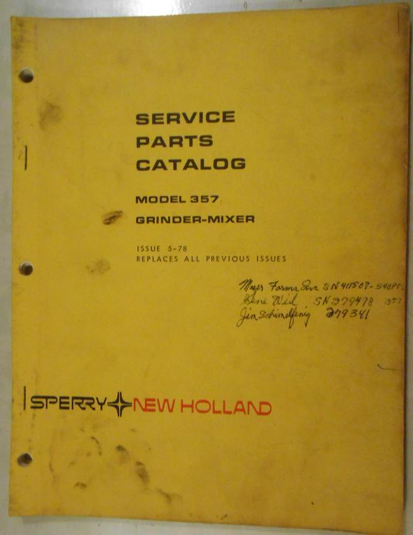 New Holland 357 Feed Grinder Parts Manual