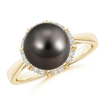 Victorian Style Cultured Tahitian Black Pearl Diamond Ring in Silver or ... - $598.88+