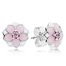 925 Sterling Silver Magnolia Bloom Pale Cerise Enamel Stud Earrings QJCB1170 - $20.99