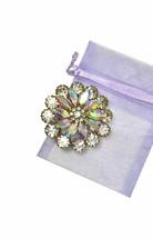 "2"" Tall Silver Tone Cluster Flower Brooch Pin Aurora Borealis Acrylic Crystals - $17.10"