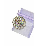"2"" Tall Silver Tone Cluster Flower Brooch Pin Aurora Borealis Acrylic Cr... - $17.10"