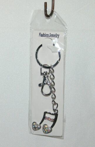 Fashion Jewelry Silver Color 16th Note Key Chain Iridescent Rhinestone