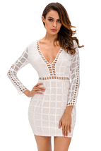 White Lace Nude Long Sleeves Mini Dress  - $21.12