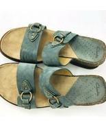 Clarks Blue Suede Leather 7 M  Slides Sandals 2 Strap Low Wedge Slip On  - $44.54