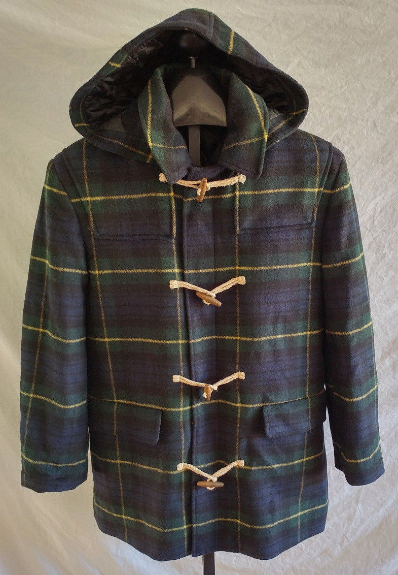 NWT Lauren Ralph Lauren Mens Tartan Blue Green Plaid Wool Hood Overcoat M,  Used For