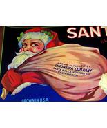 Jolly Saint Nick! Santa Crate Label, 1940's  - $5.89