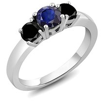 Three Stone Blue Sapphire & Black CZ Diamond 14k White GP Engagement Ring - $96.99