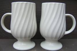 Vintage 1965 Holt Howard Retro WHITE SWIRL Footed MUGS Cups JAPAN 7550 TWO MUGS - $87.99