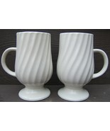 Vintage 1965 Holt Howard Retro WHITE SWIRL Footed MUGS Cups JAPAN 7550 T... - $87.99