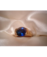 Sapphire Gold Plated Ring Size 7 Bargain Bin Under $10.00 - $5.99