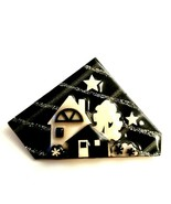 Vintage House Pins By Lucinda Brooch Pin Tree Houses Black Grey White... - $26.00