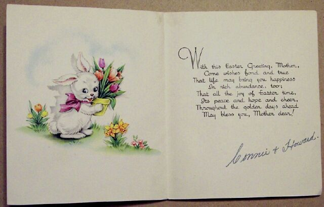 Bunny Rabbits & Red Wagon Floral Easter Greetings Card