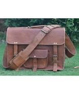 """15"""" New Large Messenger Bag Genuine Brown Goat Leather Shoulder Laptop B... - $65.26"""