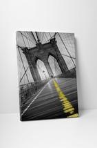 New York Brooklyn Bridge Yellow Line Skyline Gallery Wrapped Canvas Print - $44.50+