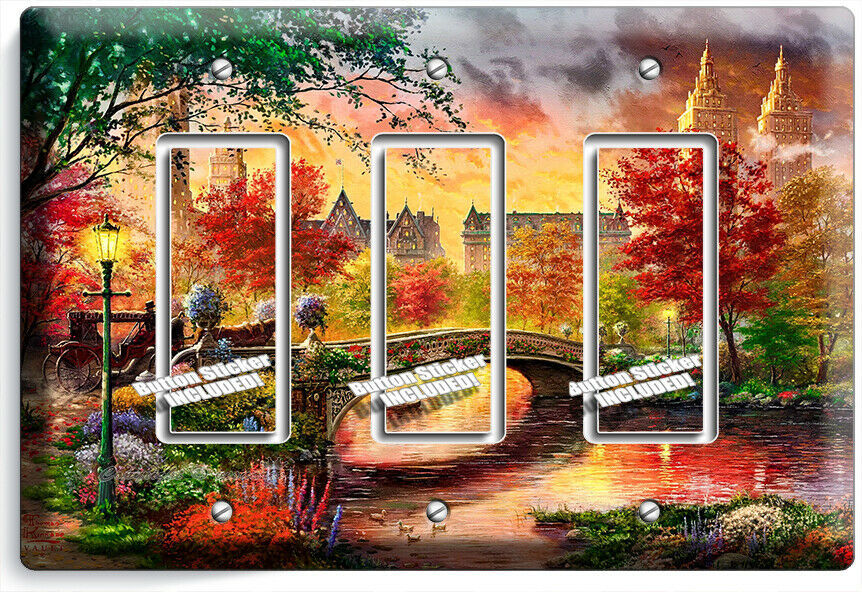 COLORFUL RETRO OLD NEW YORK CENTRAL PARK 3 GFCI LIGHT SWITCH WALL PLATE ROOM ART