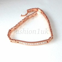 Unisex Watch Bracelet Rose Gold Plated Simulated Diamond 20.5cm 8 inches UK - $17.60