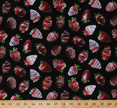 Cotton Chocolate Strawberries Berry Dessert Food Fruit Cotton Fabric BTY... - $11.49