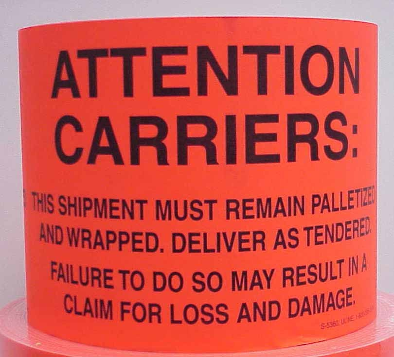 1250, 4X6 Attention Carriers red Fluorescent Labels