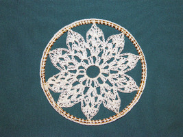 Crochet Window Hanging/Suncatcher on Brass Ring; Handmade - $9.50